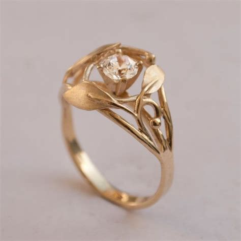leaves engagement ring no 5 14k gold and diamond engagement ring engagement ring leaf ring
