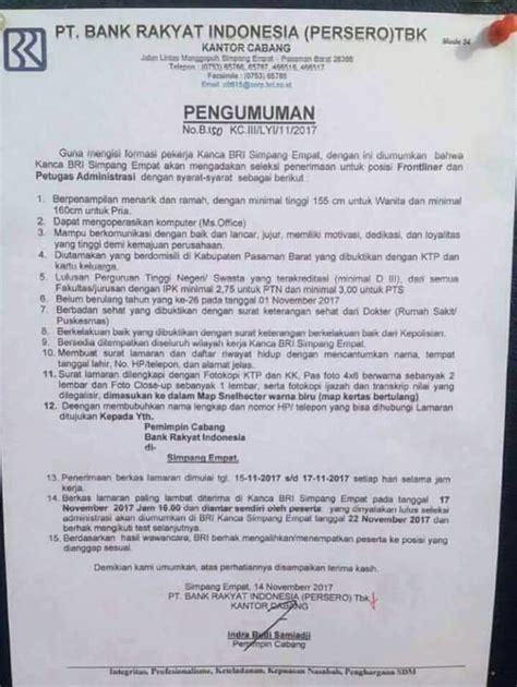 Surat Lamaran Cpns Kemensos 2017 by Lowongan Cs Teller Dan Admin Bank Bri 15 Sd 17 Nov 2017