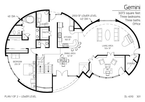 Floor Plan Dl4510  Monolithic Dome Institute