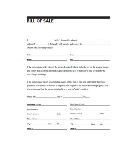 example of bill of sale automobile bill of sale 8 free sample example format