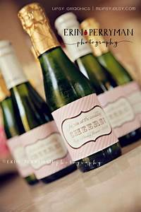 Cheers personalized vintage stripes mini champagne bottle for Diy champagne labels
