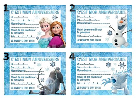 Carte Invitation Anniversaire Disney Reine Des Neiges