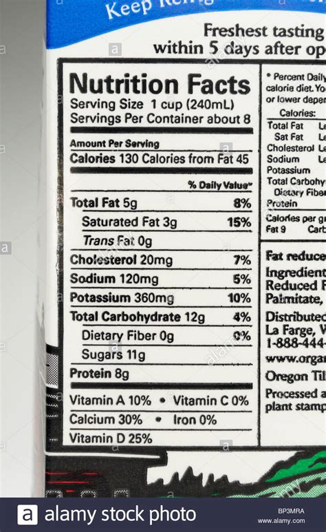 nutrition label   carton  organic  fat milk stock photo royalty  image