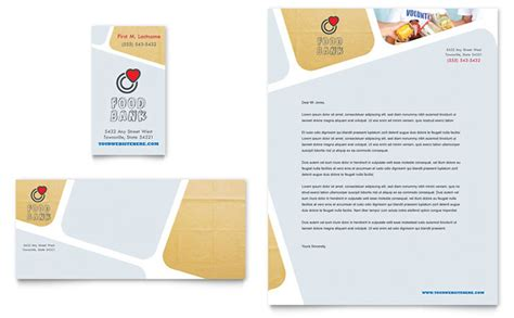 food bank volunteer business card letterhead template design
