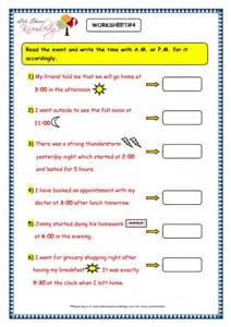 AM and Pm Time Worksheets