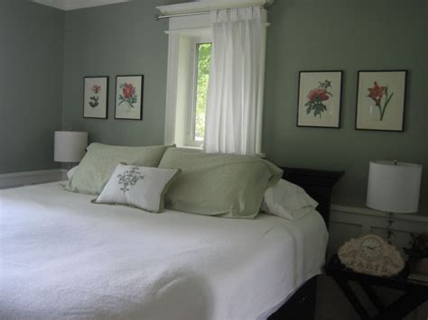 On the wall, we do see a couple of paintings that are shielded by this bedroom features that exposed brick and on that brick are very different pieces of wall art. silver sage | Sage green bedroom, Best bedroom paint ...