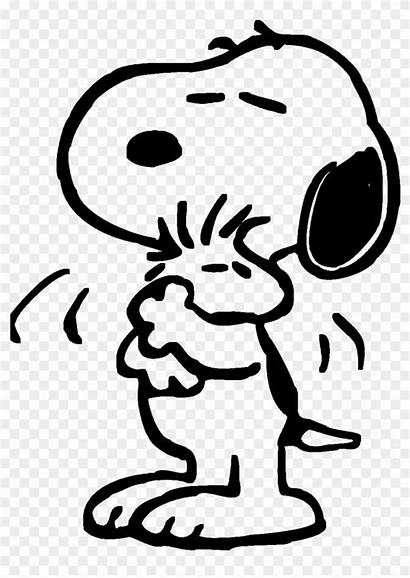Snoopy Coloring Hugs Woodstock Clipart