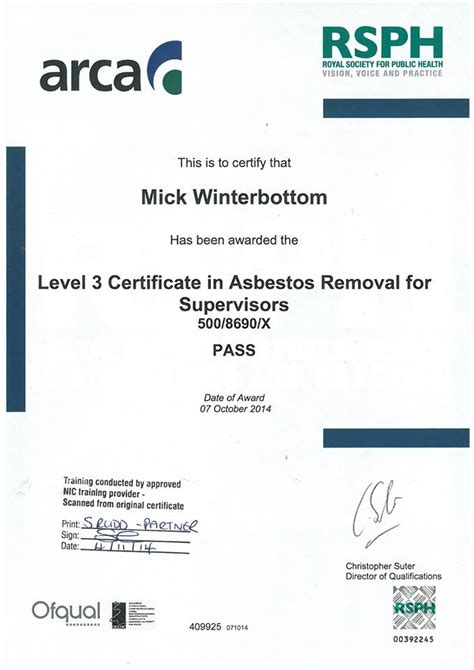 asbestos removal contractors association mick
