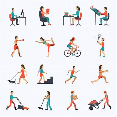 Physical Activity Icons Vector Clipart Graphics