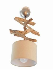 Plafonnier En Bois : lustre suspension plafonnier en bois flott cr ation unique 28 ou 30 cm abat jour fait ~ Teatrodelosmanantiales.com Idées de Décoration