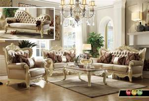 livingroom set traditional living room set w pearl bonded leather and antique white carved wood
