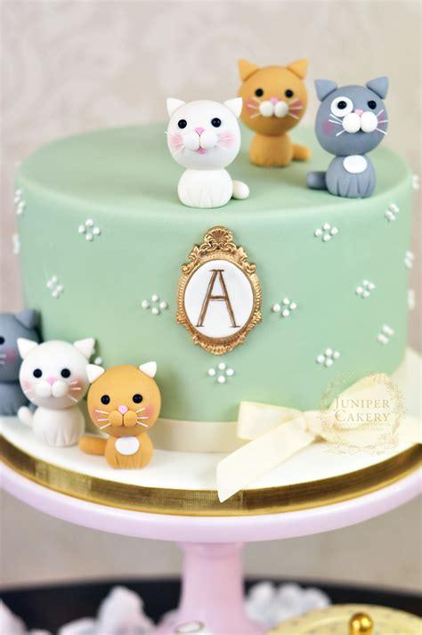 A cat celebrates a birthday. Adorably Sweet Kitten Themed Cake!
