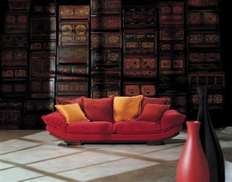 minimalsit living room  red sofa yellow pillows