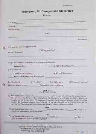Mietverträge  Mietvertrag Für Garagen Und Stellplätze