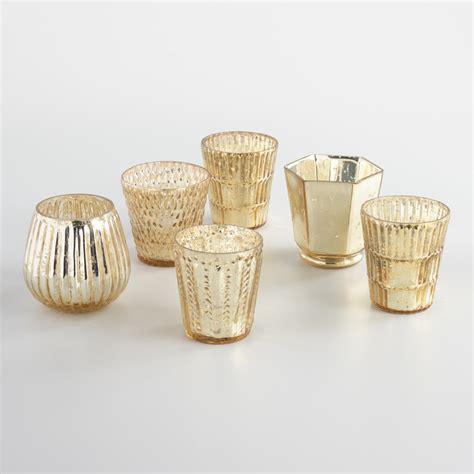 mercury glass votives gold mercury glass votive candleholders set of 6