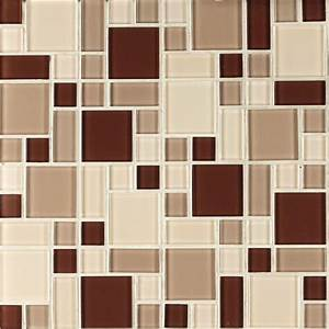 Instant Mosaic Beige and Brown 12 in x 12 in x 6 mm Peel