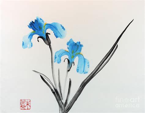 blue iris i painting by yolanda koh
