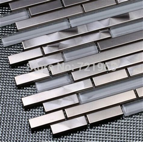 kitchen backsplash stainless steel tiles buy white glass mosaic kitchen wall tile backsplash ssmt307 silver metal mosaic