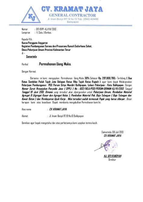Contoh Surat Biaya Jasa Pengiriman Barang by Surat Permohonan Uang Muka