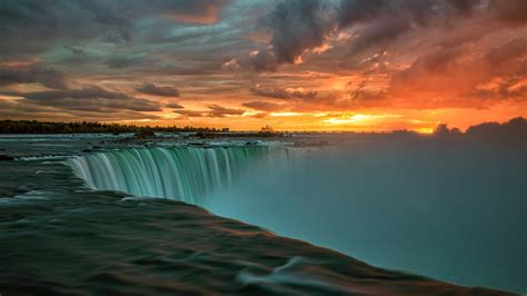 nature landscape sunset clouds water niagara falls