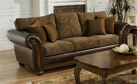 And Loveseat by Zephyr Chenille And Leather Living Room Sofa Loveseat Set