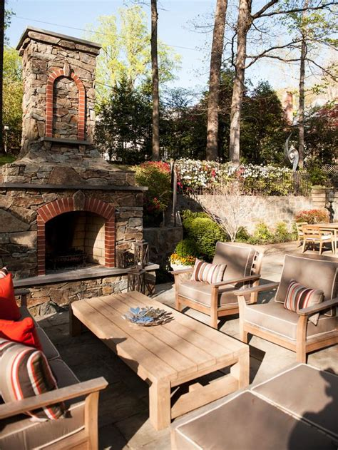 pictures of outdoor living spaces with fireplace comfortable patio seating area designers portfolio hgtv home garden television