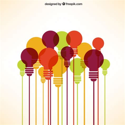 different color lights lights bulbs collection in different colors vector free