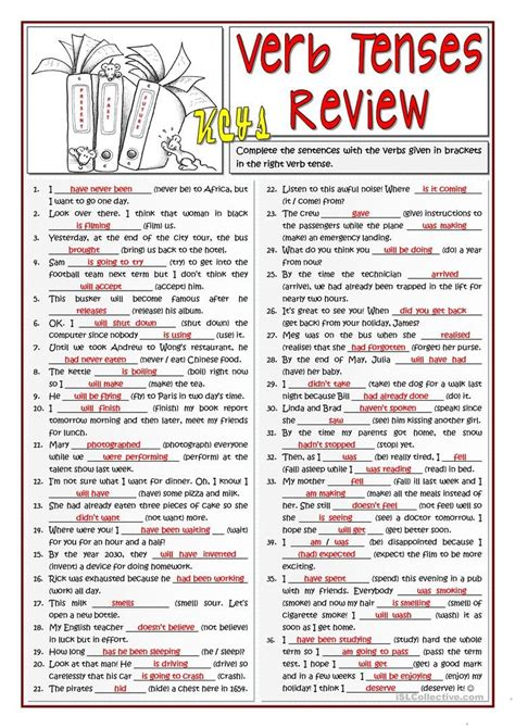 verb tenses review worksheet  esl printable