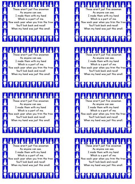 snowman poem gift tags  printable printable
