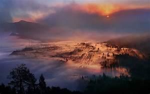 Nature, Landscape, Mist, Sunrise, Mountain, Forest, Valley