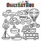 Coloring Transportation Clip Vehicles Transportations Hub Dailyarthub Books Paper Craft sketch template
