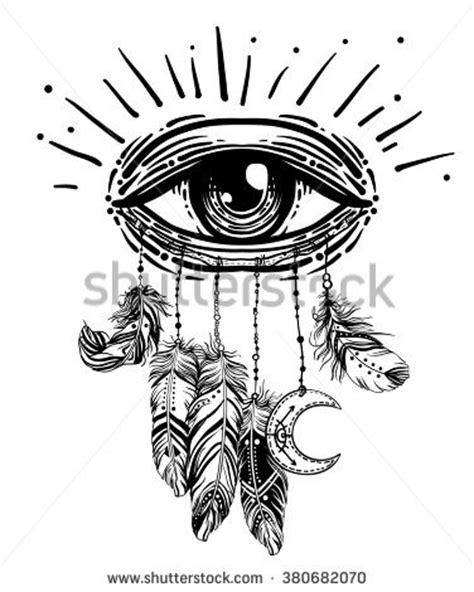 Blackwork Tattoo Flash All Seeing Eye Stock Vector 430201195 - Shutterstock