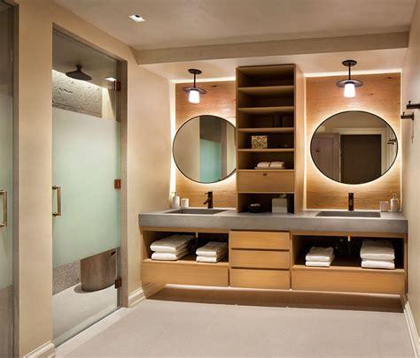 separate  double sink vanity  wood shelves