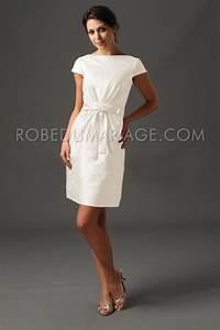 Robes de mariée civil courte taffetas noeud col en bateau [#ROBE206522] robedumariage info