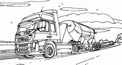 Coloring Semi Truck Road Vtn Pages Colornimbus