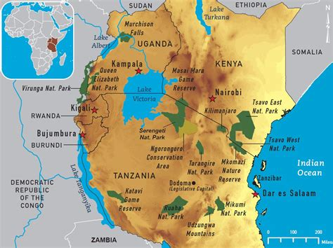 map  central africa national parks map   east
