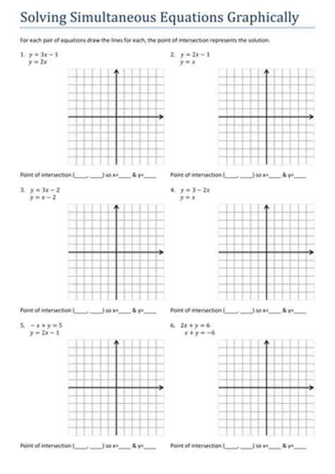 gcsesimultaneous equations graphically worksheet by