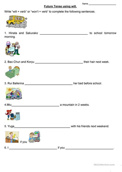 future tense   worksheet  esl printable