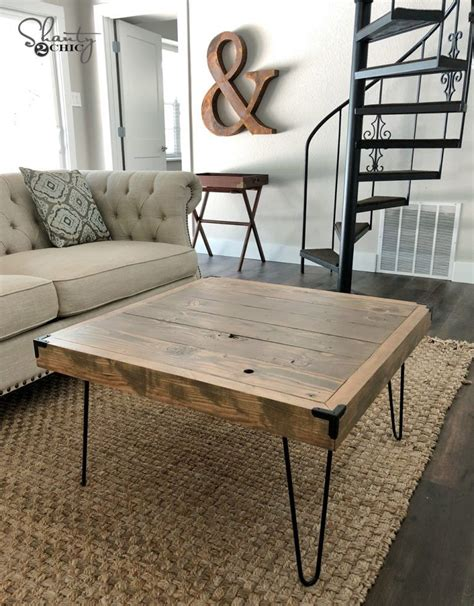 Better homes & gardens modern farmhouse coffee table. DIY $50 Hairpin Coffee Table by Shanty2Chic | Diy farmhouse coffee table, Coffee table farmhouse ...