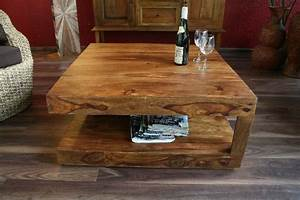 Couchtisch Quadratisch Holz : couchtisch stauraum 90x90x40 sheesham holz massiv wohnzimmertisch quadratisch ~ Buech-reservation.com Haus und Dekorationen