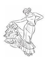 Coloring Spanish Dancer Flamenco Pages Spain Dance Printable Supercoloring sketch template