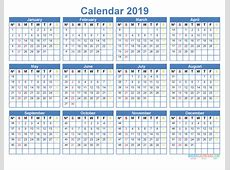 Printable 2019 Yearly Calendar Template Word, Excel, PDF