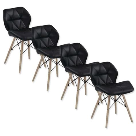 Lot De Chaise Pas Cher Design lot de 4 chaises design ophir noir achat vente chaise