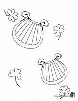 Irish Harp Coloring Pages Patrick Symbol St Hellokids sketch template