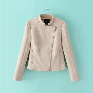 Cream Color 2015 Fashion New Faux Leather Jacket Motorcycle And Biker Coat For Girl Street Look ...