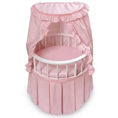 badger basket round doll crib bed w pink bedding and