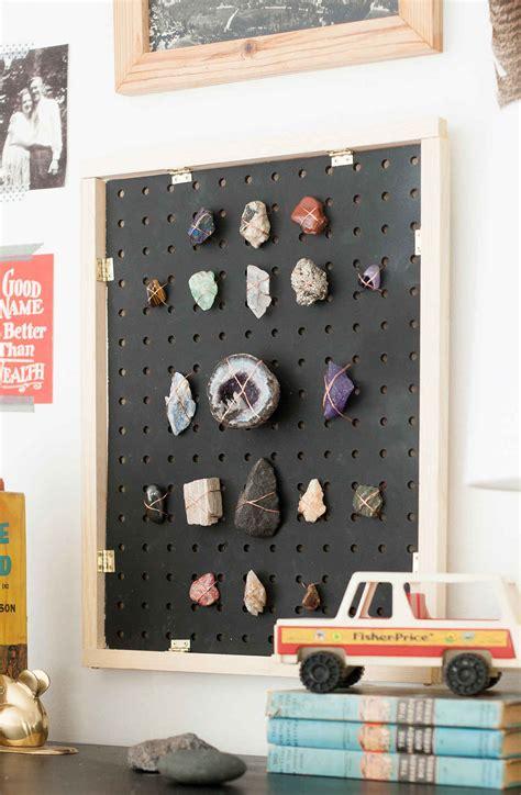 rock collection diy display ways pegboard room collections displaying baby pegboards lay laybabylay bedroom rocks collecting idea way kid project