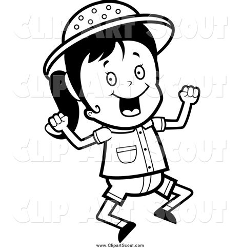 Coloring Exles by Clipart Of A Black And White Jumping Happy Safari By