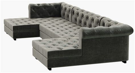 chaise chesterfield rh modern modena chesterfield leather u chaise sectional