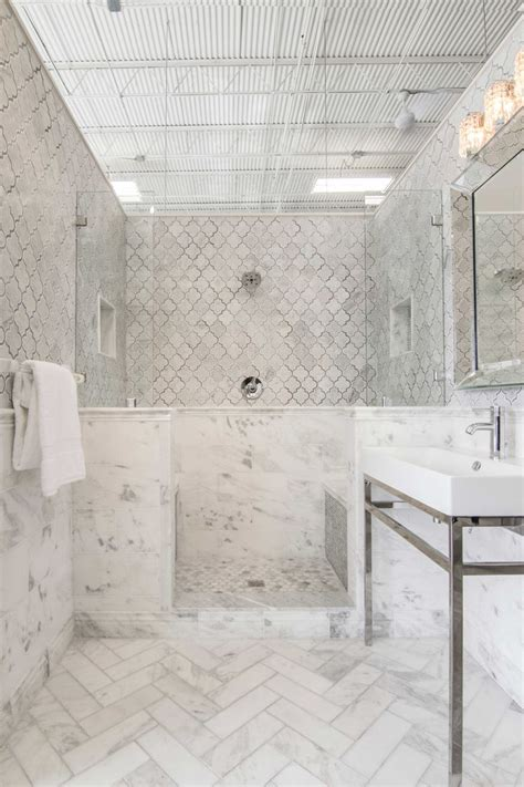 white bathroom tile tempesta neve polished marble subway